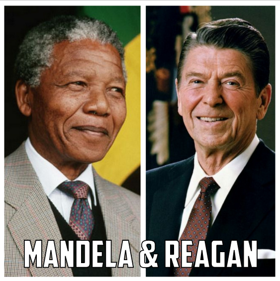 Nelson Mandela and Ronald Reagan