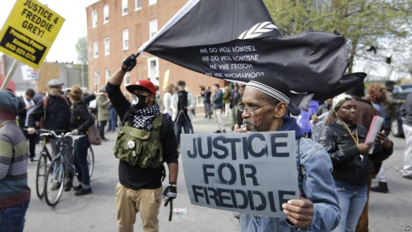 Protesters in Baltimore protesting against police brutality