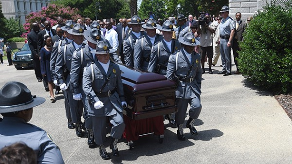 Clementa Pickney's casket in Charleston SC